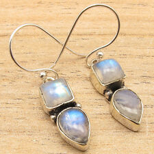 925 Silver Plated Blue Fire RAINBOW MOONSTONE Earrings Jewelry GIFT FOR FRIEND