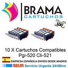 10 Comps Canon Pgi520 CLI521 IP 3600 IP 4700 MX870 MP620 MP980 Con Chip PGi 520