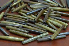 68 PCS CARVED BROWN FISH BUFFALO BONE TUBE BEADS 2 STD #50