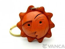 """An Artistic Face"" Handmade 3D Leather (L) Keychain *VANCA* Made in Japan #56803"