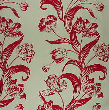 ANDREW MARTIN Sugartwist Floral Red Tulips Cotton England Remnant New