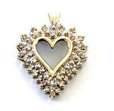 10k yellow gold 1.16ct SI2 K women's diamond heart pendant 3.9g vintage estate