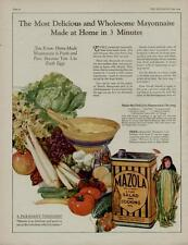 1924 MAZOLA OIL AD / LADY OF THE CORN WITH A TERRIFIC VEGIE & FRUIT SCENE!!!