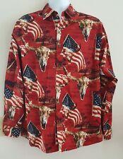 BIT & BRIDLE WESTERN COWBOY L/S BUTTON SHIRT MEDIUM FLAG BULL HEADS COUNTRY EUC