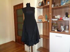 WON HUNDRED BLACK SILK SLOUCHY ASYMMETRIC LAYERED TIE FRONT STRAPPY DRESS-36