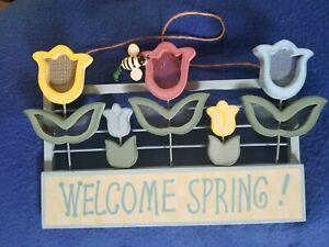 Wooden Welcome Spring Hanging Wall Art