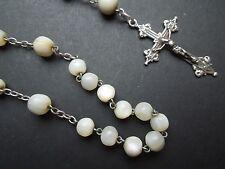 N255 Art Nouveau Silver /Mop Rosary See Description
