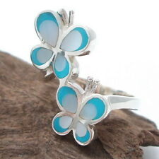 Double Blue MOP Butterfly .925 Silver Ring-8