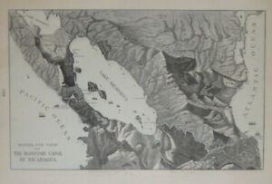 Original 1902 Bird's-Eye-View Map NICARAGUA CANAL San Juan River Managua Volcano
