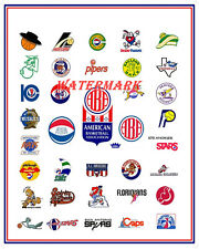 ABA American Basketball Association Color Team Logo's 8 X 10 Photo Picture
