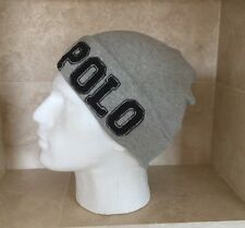 RALPH LAUREN POLO ' GREY CUFFED BEANIE WITH POLO LOGO BRAND NEW WITH TAGS