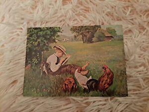 Vintage Greeting Postcard. Art. German. Young boy drawing. Hens. Cat. Chrome.