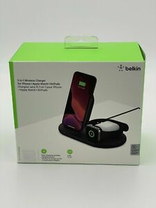 MINT Belkin 3 in 1 Wireless Charger For Iphone Apple Watch Air Pod Black