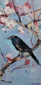 JOSE TRUJILLO Oil Painting IMPRESSIONISM COLLECTIBLE ARTIST FLORAL BIRD ARTWORK
