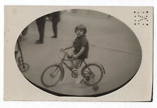 CARTE PHOTO ANCIENNE Vélo à roulettes Bicyclette Bike Enfant 1930 Ovale Sonnette