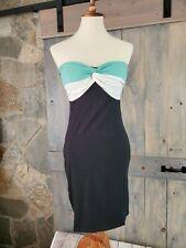 Derek Heart Strapless Bodycon Twist Dress Size Large Black and Teal