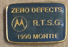 Motorola rare hat pin 1990 lapel Month Zero Defects RTSG green gold  telecom