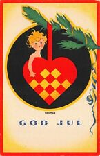 Nerman art Christmas Postcard Boy with a Heart Ornament on a Tree Branch~118983