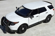 Motormax 1/18 2015 Ford PI Utility Police SUV Blank White SLICKTOP CASE OF FOUR!