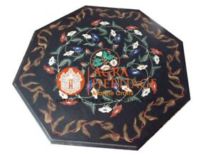 """36"""" Black Marble Octagon Dining Top Table Marquetry Inlay Party Decoration E1262"""
