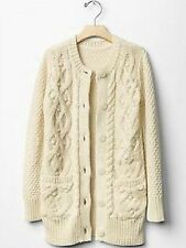 GAP Kids Girls Cable Knit Cardigan Sweater Jacket French Vanilla XS 4 5 NWT $50