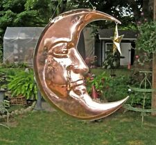 Hanging 3D Moon and Brass Star Polished Copper Hanging Sculpture