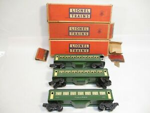 Lionel 6440, 6440, 6441 State Green Pullmans EX Boxed Postwar O Gauge X5357