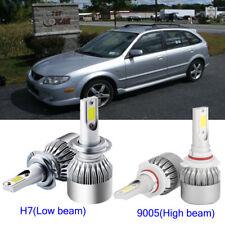 4x Car H7+9005 HB3  LED Headlight Kit Light Bulb For Mazda Protege 5 2003-2002