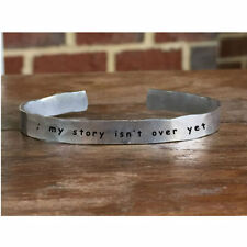 Semicolon My story isn't over yet - Outside Message Hand Stamped Cuff Stacking