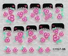 Nail art: 10 stickers bijoux d'ongles: Triples fleurs roses bords noires coeurs