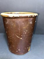 Antique Pottery Glazed Brown Stoneware Jar Old Canning Crock