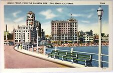 c1930s LINEN POSTCARD, BEACH FRONT, LONG BEACH, CALIFORNIA #B40k