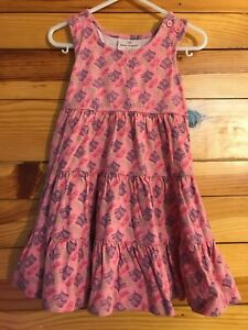 Hanna Andersson Feather Tiered Twirl Dress Girls Pink Sleeveless Size 90 3