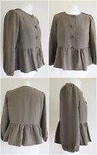JIGSAW Khaki Silk Hemp Button up Peplum Jacket UK Size 12.