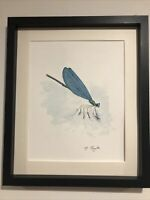 Dragon Fly, Signed Original Watercolour Painting, Vintage Art, Not A Print, Gift
