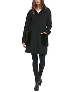 DKNY Womens Coat Black Size Small PS Petite Faux-Fur-Pocket Walker $209 146