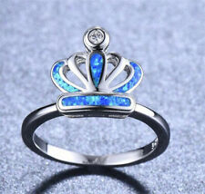 NEW 925 Silver Crown Blue Fire Opal CZ Crystal Wedding Ring Jewelry Size 9