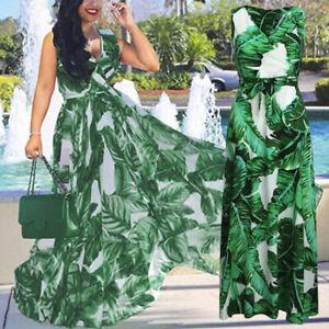 Women Summer Party Long Dress Holiday V-Neck Chiffon Maxi Dresses With Belt £OUK