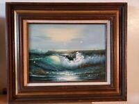 Artist HUNSON Seascape VINTAGE Original OIL PAINTING.Seagulls in mountains 25x20