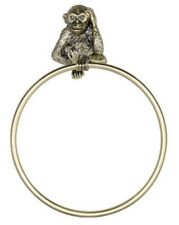 Gold Brass Monkey Wall Mounted Towel Ring Holder Tropical Bathroom