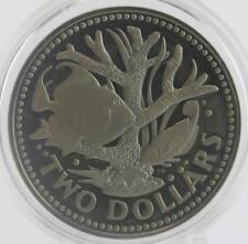 1973 Pièce de Barbados 2 Dollar Pièce de Monnaie Deux Poissons et Corail
