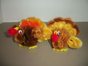 Pair of Handmade Vintage Chenille Pipe Cleaner Thanksgiving Turkeys