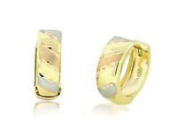 10K Yellow Gold Huggie Hoop Earrings Rose and White Gold Accents 13mm Round