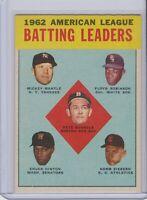 1963 Topps AL Batting Leaders #2 Mickey Mantle Robinson Funnels Hinton Siebern