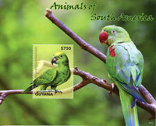 Guyana 2014 MNH Animals of South America 1v S/S II Birds Parrots Amazons Stamps