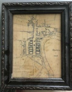 VINTAGE FRAMED OLD MAP of STOCKTON on TEES town centre 1828