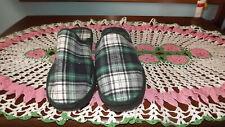 Men's Green Plaid Slip On Slippers Size 10 New