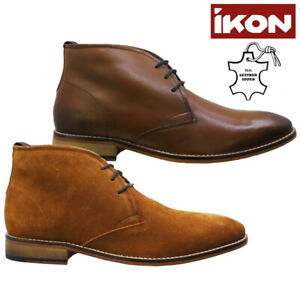 NEW MENS IKON LEATHER SUEDE ANKLE CHUKKA DESERT CHELSEA BROGUES BOOTS SHOES SIZE