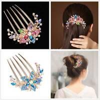 Hot Fashion Women Lady Girl Flower Alloy Rhinestone Barrette Hair Clip Comb JR
