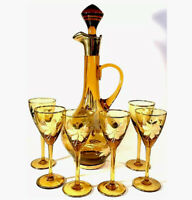 CORDIAL SET OF 7 DECANTER & 6 GLASSES GOLD FLORAL DESIGNS ROMANIA VINTAGE GOLD